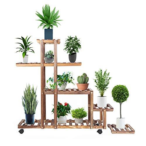 Cocoarm scaffale portafiori da interno legno 4 ripiani per giardino, patio, balcone, cortile, angolo