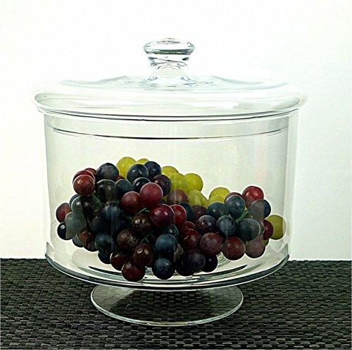 Chiara Grande e Pesante in vetro fatto a mano Candy Dish Barattolo con coperchio 21cm