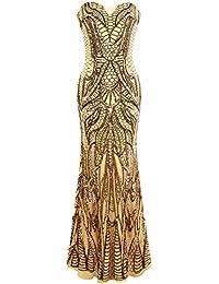 Angel-fashions Femme Entaille Colonne Bretelles Paillette Gaine etage Longueur Robe