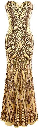 Angel-fashions Damen Gekerbt Trägerlos Paillette Säule Mantel Ballkleid (L, Gold)