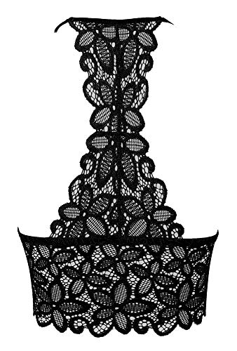 Amorbella Damen Spitze Bralette Longline Sexy Crop Top (für A-C Cups) Gr. M, Longline-schwarz - 4