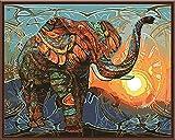 Elefante DIY Pintura por Números Animales Vintage Pintura Acrílico Cuadro Hogar Arte de la Pared Decoración...