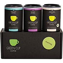 Green Cup Coffee Kaffee Probierset - sortenreine, fair gehandelte Arabica Kaffeebohnen in Bio-Qualität - Kaffee Bohnen aus Costa Rica, Guatemala & Peru - 3x 45g ganze Bohne