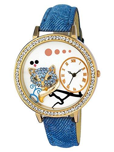 Addic Sexy Fox Carved & Studded Blue Denim Luxury Women\'s Watch