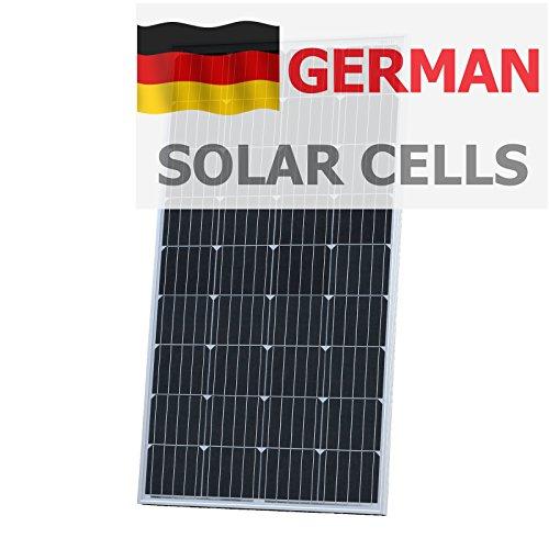 Panel solar monocristalino Photonic Universe de 150 W fabricado con células solares alemanas de alta eficiencia, con 2 x 5 m de cable solar especial, fuente perfecta de energía libre para cargar su batería de 12 V. Este panel solar monocristalino imp...