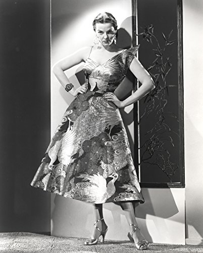 Jane Russell Posed in Silk Floral Strap Dress and High Heel Sandals with Hands on The Waist Photo Print (20,32 x 25,40 cm) -