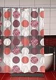 Duschvorhang Kreise Punkte mit Verzierung 180cm breit x 180cm lang transparent rot weiß Vinyl + Ringe