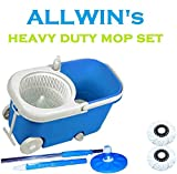 #7: ALLWIN's Heavy Duty Mop Bucket Magic Spin Mop Bucket Double Drive Hand Pressure with 2 Microfiber Mop Head Household Floor Cleaning (Color May Vary).