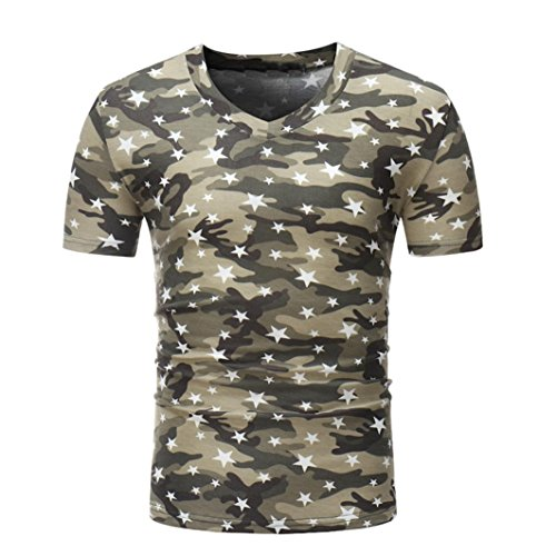 Herren Shirt, Camouflouge Gedruckt V-Neck Regular Sweatshirt Sportswear T-Shirt Top Blouse Muscle Shirt (XL, Kaffee)