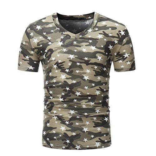Herren Shirt, Camouflouge Gedruckt V-Neck Regular Sweatshirt Sportswear T-Shirt Top Blouse Muscle Shirt (XL, Kaffee)