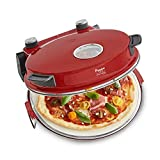 Pizzaofen Peppo 1200W | Pizzamaker | Minibackofen elektrisch für Pizza & Brot 350°C Timer & Signallampe, inkl. Emaille-Bratpfanne & 2 großen Pizzawendern + Gratis Rezept (PDF) - rot