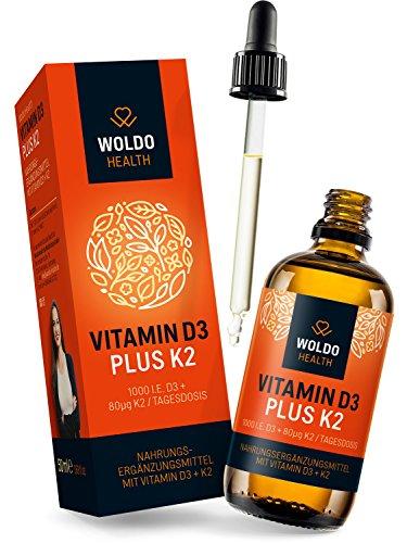 Vitamin D3 K2 Tropfen hochdosiert 50 ml I D 3 1.000 I.E. I K 2 MK7 All-Trans 80µg pro Tagesdosis MCT Kokosöl