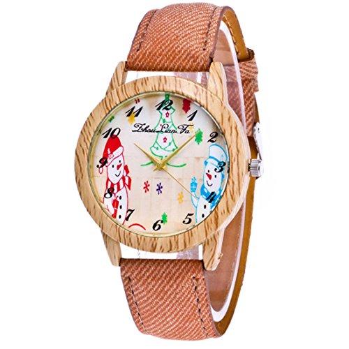 o Armbanduhr Schneemann Motiv Holz Maser Damenuhren Casual Quarz Uhren Braun (Holz-schneemänner)