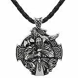 Modalità 3D vichingo guerriero spada e ascia–della croce celtica Steampunk Mjolnir scandinavo Raven Runen Pagan Fenrir Nordic–Collana con ciondolo in acciaio INOX