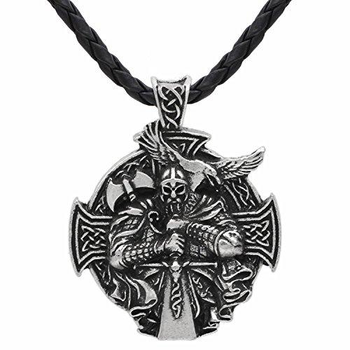 Detaillierte 3D Viking krieger Schwert und Axt - Schutz Keltisches Kreuz Steampunk Mjölnir skandinavischen Raben Runen heidnischen Fenrir Nordic Anhänger Halskette - Edelstahl Leder