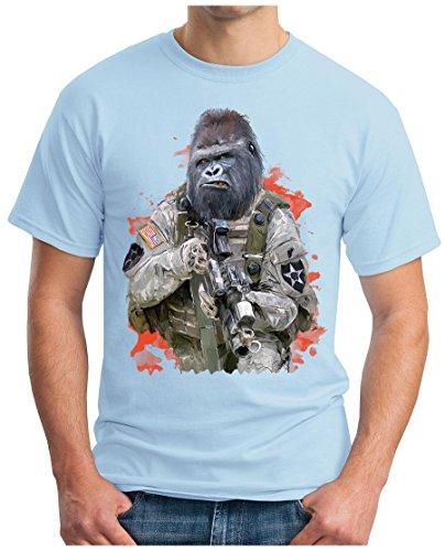 OM3 - ARMY-GORILLA - T-Shirt GEEK, S - 5XL Himmelblau
