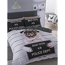 Catherine Lansfield Juego de funda nórdica y de almohada para cama doble con diseño de carlino, multicolor, Cocha para cama doble