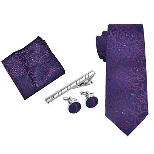 Herren Krawatten set, Kapmore Business Krawatte mit ManschettenKnöpfe, Einstecktuch und Krawatte Bar Geschenk Set Paisley