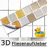 5er Set 25,3 x 5 cm Fliesenaufkleber kupfer gold silber Mosaik I 3D selbstklebend Fliesen Küche Bad Wandaufkleber Fliesendekor Folie Grandora W5285