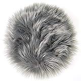 CelinaTex Molly Sitzkissen rund 30 cm grau hochfloriges Fellimitat Stuhlkissen Kunstfell Langhaar Dekokissen 5001585
