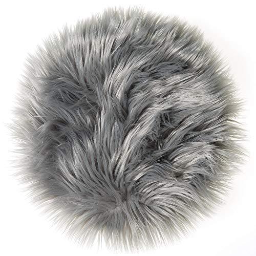 CelinaTex Molly Sitzkissen rund 45 cm grau hochfloriges Fellimitat Stuhlkissen Kunstfell Langhaar Dekokissen 5001587