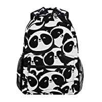 Ahomy School Backpack Black and White Panda Canvas Rucksack Bag for Teen Girls Boys Women and Men