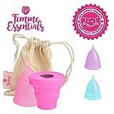 Copa Menstrual Femme Essentials + Caja de Almacenamiento Esterilizadora |100% de Silicona Hipoalergénica para Uso Médico - Ecológica, Segura, Cómoda y Higiénica | Tamaño: Pequeño | Color: Rosa