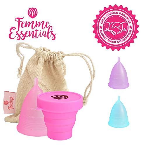 Femme Essentials Menstruationstasse - Diskret und Hygienische Menstruationskappe - aus medizinischem Silikon mit Faltbarem Sterilisationsbecher - Deutscher Anleitung - Menstrual Cup - Rosa (S)