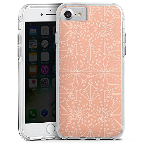 Apple iPhone 7 Bumper Hülle Bumper Case Glitzer Hülle Pattern Muster Peach Bumper Case transparent
