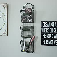 Wire Letter Post Stationery Rack Industrial Style Wall Baskets Vintage Chic Triple Storage