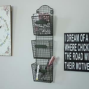 Melody maison porte courrier mural en m tal filaire avec 3 compartimen cuisine - Porte courrier mural ...