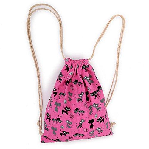 Imagen de vovotrade gato encantador de la historieta lona cordón saco colgante playa deportiva bolsa para  al aire libre bolso del dinero del teléfono celular rosa