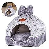 Mallallah Chien Chat Maison Douillet Pliable Lapin Chiot Panier Niche Chaud Coussin Lit Nid Belle Maison Cat Litter House Teddy Hamster Lapin, Gris