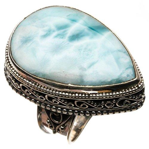 stargems (TM) natur Karibik Larimar Vintage 925Sterling Silber Ring, US Größe R3458