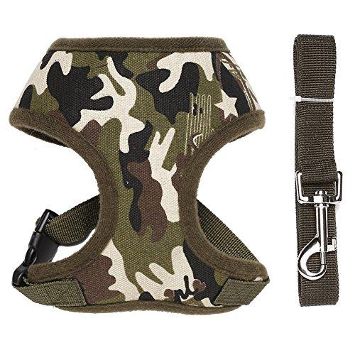 Forepin® Portable Vest Dog Harness Traspirante Pet Harness Cinghia Della Maglia Guinzaglio per le Piccole e Medie Cani (Camo, M)