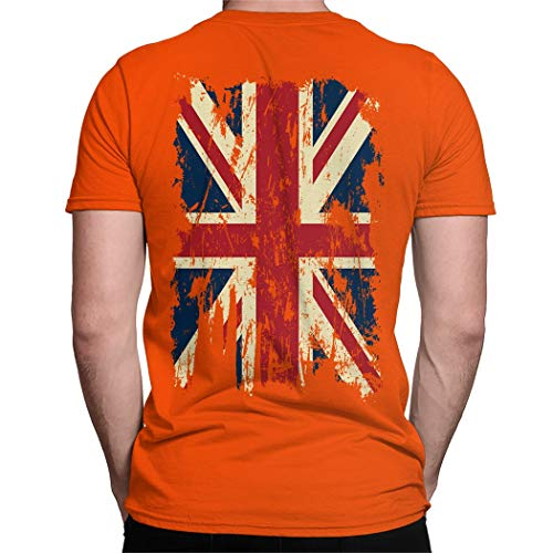 Vintage Distressed Great Britain Flag Back Print Men's T-Shirt -