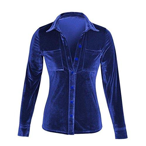Fossen Mujer Terciopelo Blusa de Manga Larga Camisetas Oferta Blusas de Mujer Elegantes de Fiesta (M, Azul-02)