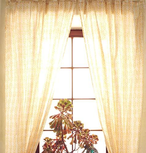 Guru-Shop Vorhang, Gardine aus Dünner Baumwolle (1 Paar Vorhänge, Gardinen) - Muster 3, Gelb, 225x100 cm, Dekovorhänge