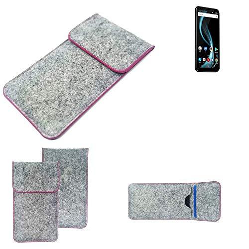 K-S-Trade® Filz Schutz Hülle Für -Allview X4 Soul Infinity Plus- Schutzhülle Filztasche Pouch Tasche Case Sleeve Handyhülle Filzhülle Hellgrau Pinker Rand