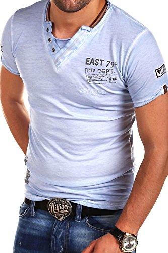 TAZZIO Steyler V-Kragen T-Shirt 4060 Babyblau