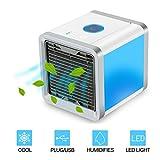 Tobbiheim Condizionatore Portatile, Mini Condizionatore Umidificatore Depuratore Alimentatore USB 7 Colori Chiari Per Yoga Bagno Casa e Sala Riunioni