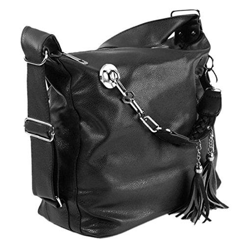 Femme Bandouliere Sac - SODIAL(R)Femme Sac a Main Epaule Cartable PU Cuir Frange Bandouliere Messenger Brown Noir