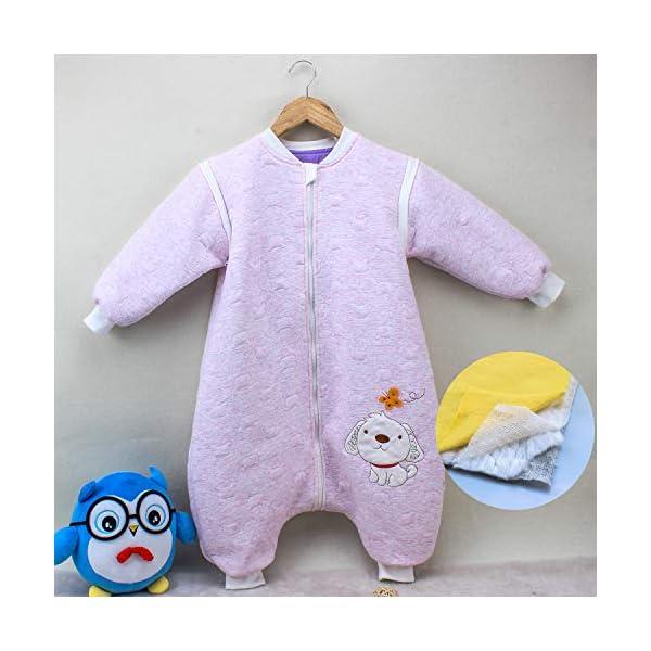 Saco de dormir para bebé, de manga larga, para invierno, con diseño de perro, saco de dormir con patas, de algodón, unisex, para todo el año azul azul Talla:(M:90cm 1-3Jahre)