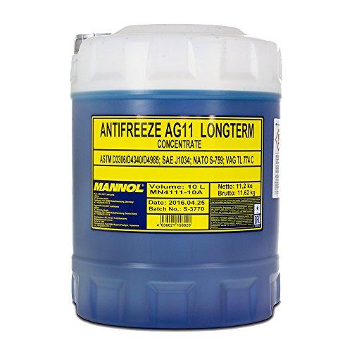 1 x 10L MANNOL AG11 Antifreeze / Kühlerfrostschutz Konzentrat Blau