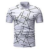 Herren Floral Bedruckt Design Rundkragen Freizeit Kurzarm Polo Shirt(S,Weiß)