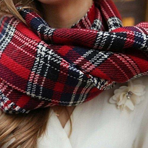VLUNT Echarpe Longue Douce et Chaude Surdimensionn¨¦e Automne/Hiver pour Femme Foulards Tartan Ch?le Long Etole Filage de la laine Cadeau No?l Noir et Blanc Rouge