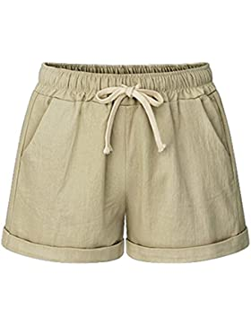 Shorts Donna Estate Tessuto di Lino Puro Colore Pantaloncini Running Beach Hot Pants Taglie Forti M-6XL
