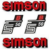 SET: Aufkleber Klebefolie SIMSON S50 B - ROT - für Tank und Seitendeckel von BISOMO®