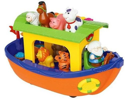 Kikkieland Discovery Noahs Ark With Motor Engine & Horn Sound,sweet Melodies,colourful Piano & Removable Animals