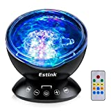 Ocean Wave LED Night Light Projector Built-in Soft Music Player Remote Control With Multi Colors Aurora Light Show Fit for Indoor Kids Bedroom, Social Party, Dating Mood, Best Gift for Holiday and Home Décor, Black